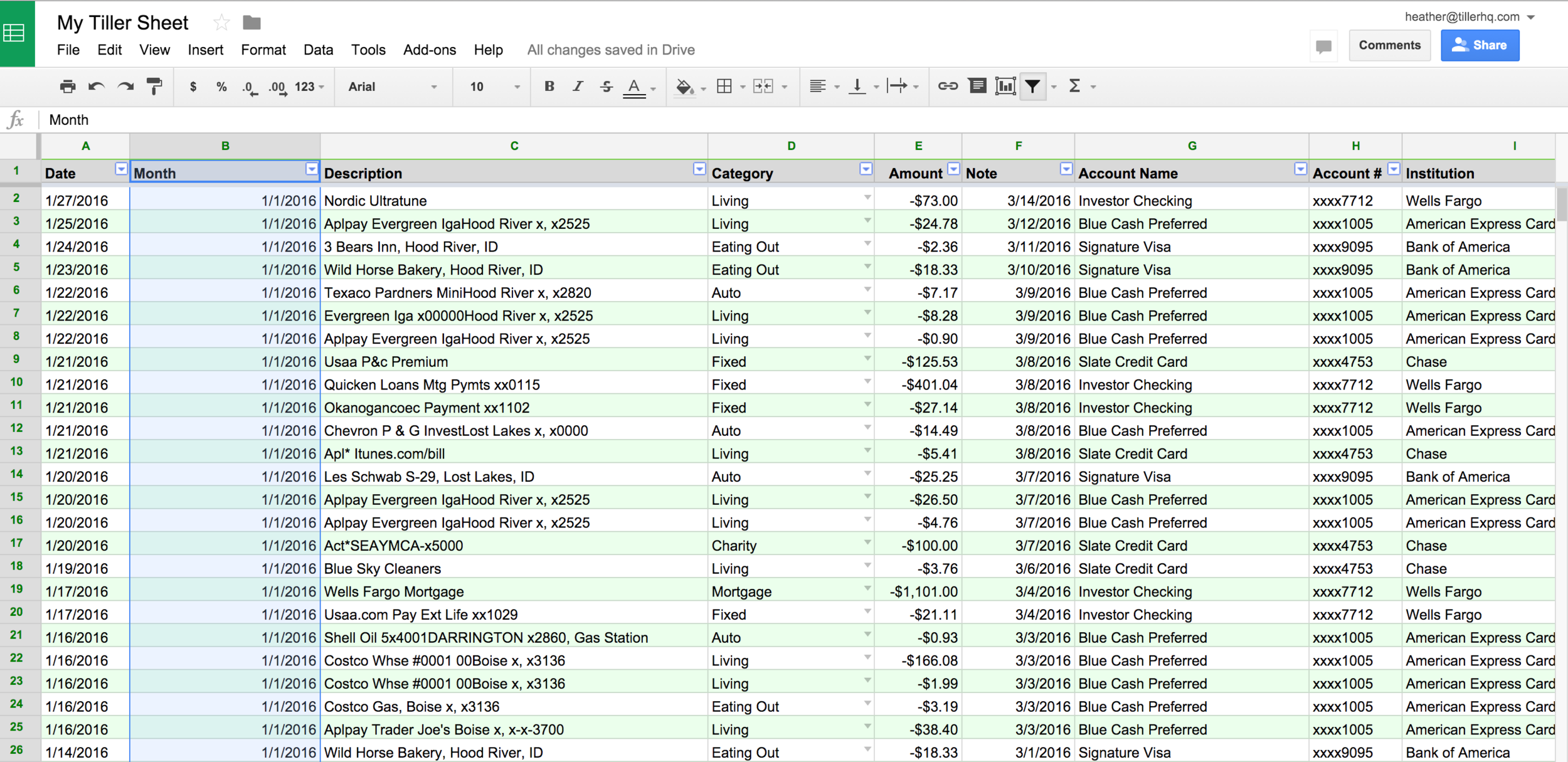 Monthly Spending Pivot Tables in Your Financial Spreadsheet1