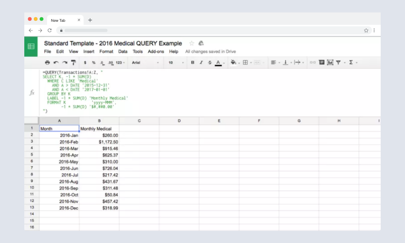 Using Google Sheets QUERY to Visualize Your Spending Google Sheets Header