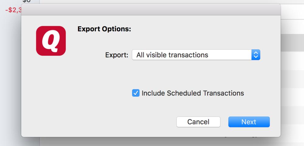 Export Visible Quicken Transactions