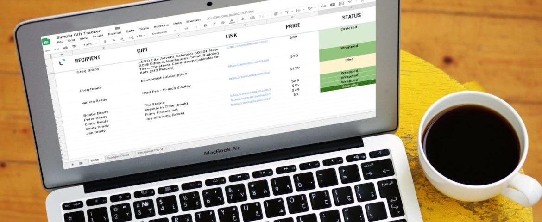 Gift Tracker Spreadsheet