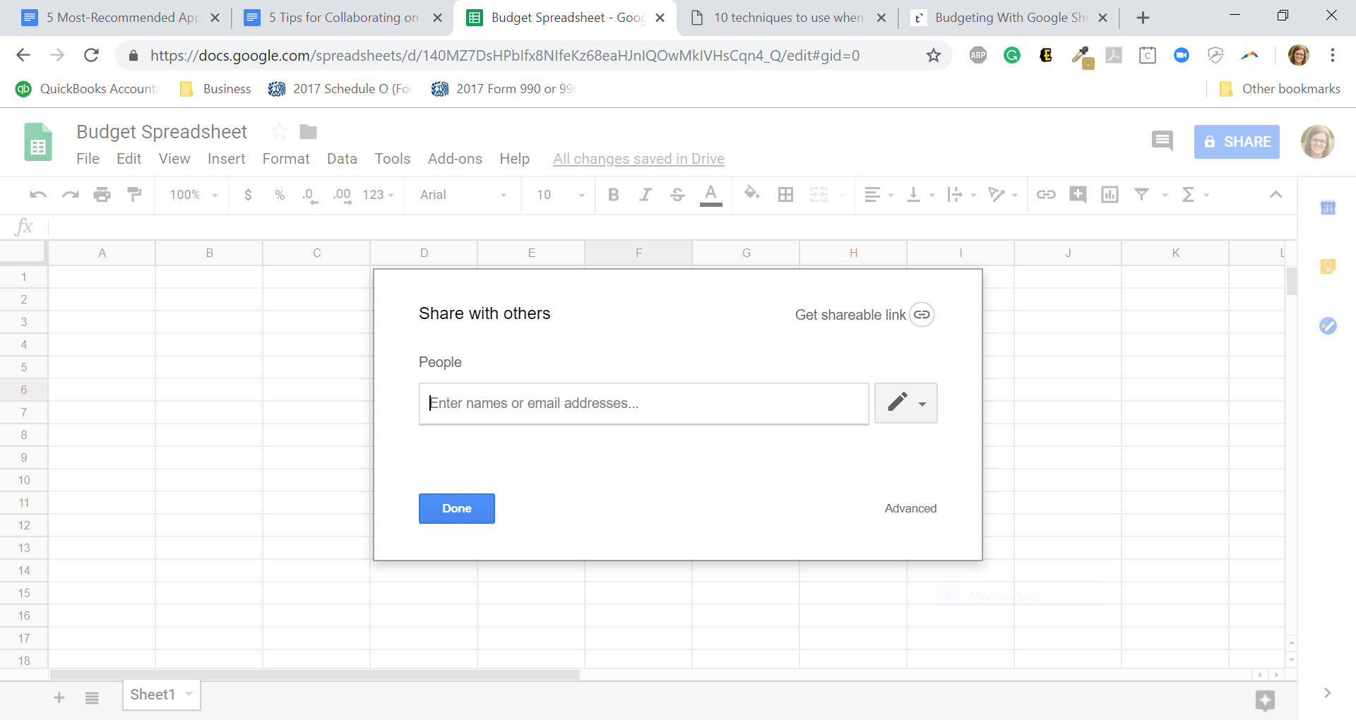 Share your Google Spreadsheet budget