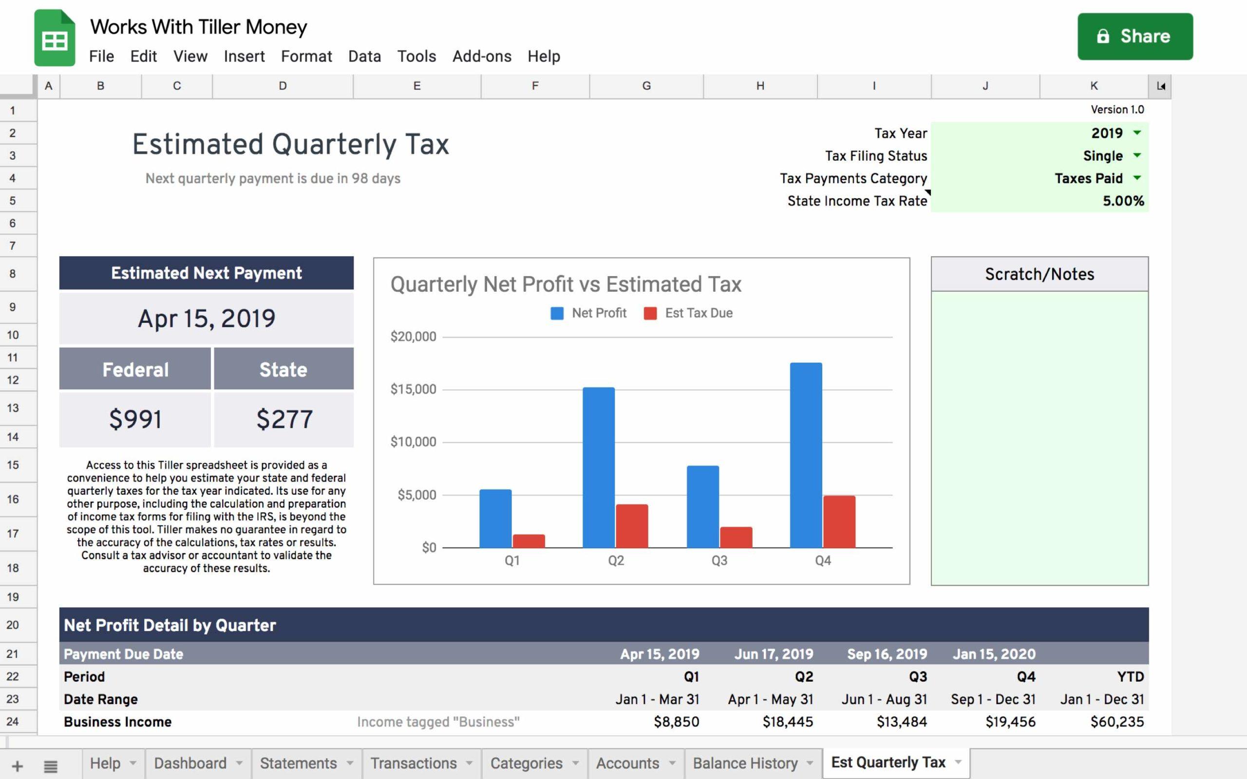 quarterly estimated tax spreadsheet