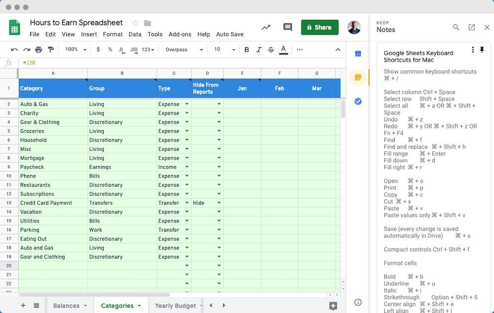 Google Spreadsheet with Receipt