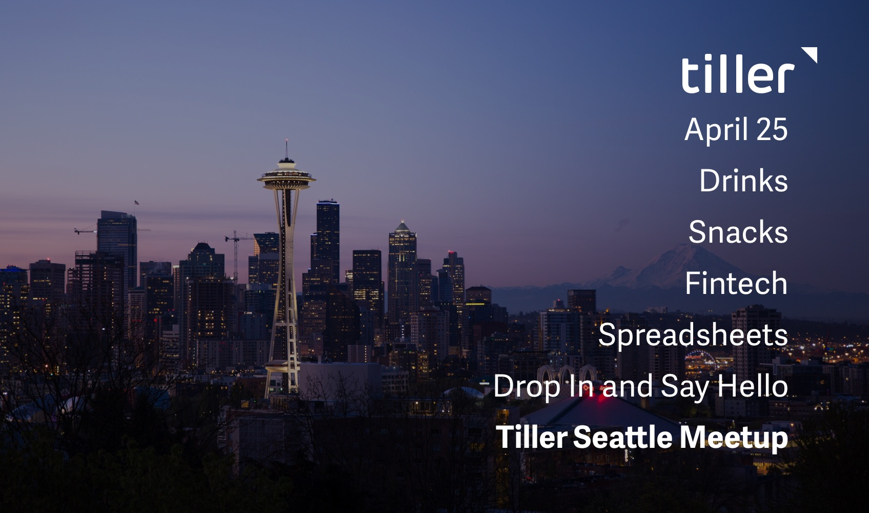 Tiller Seattle Meetup April Header