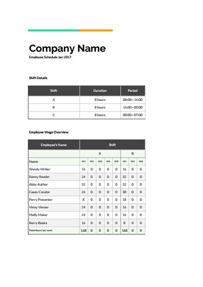 Employee Shift Schedule Google Sheets