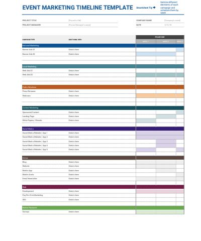 Event Marketing Timeline Google Sheets