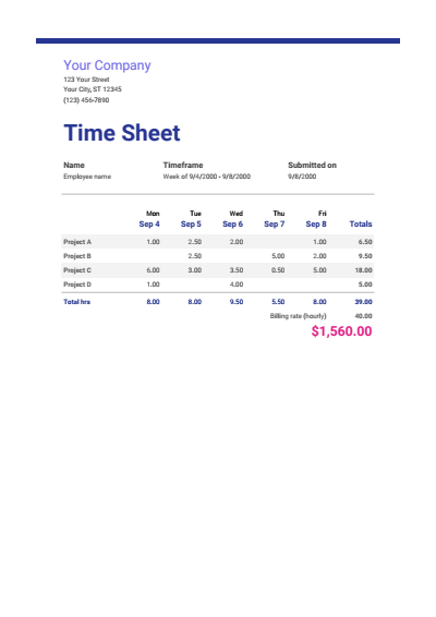 Weekly Time Sheet Google Template