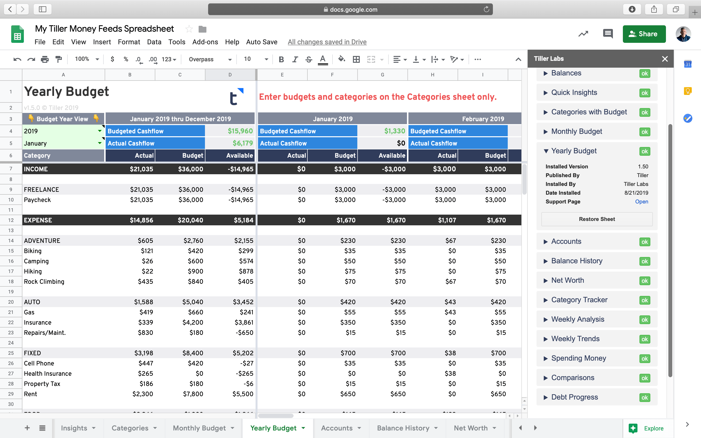 Yearly Budget Google Sheets