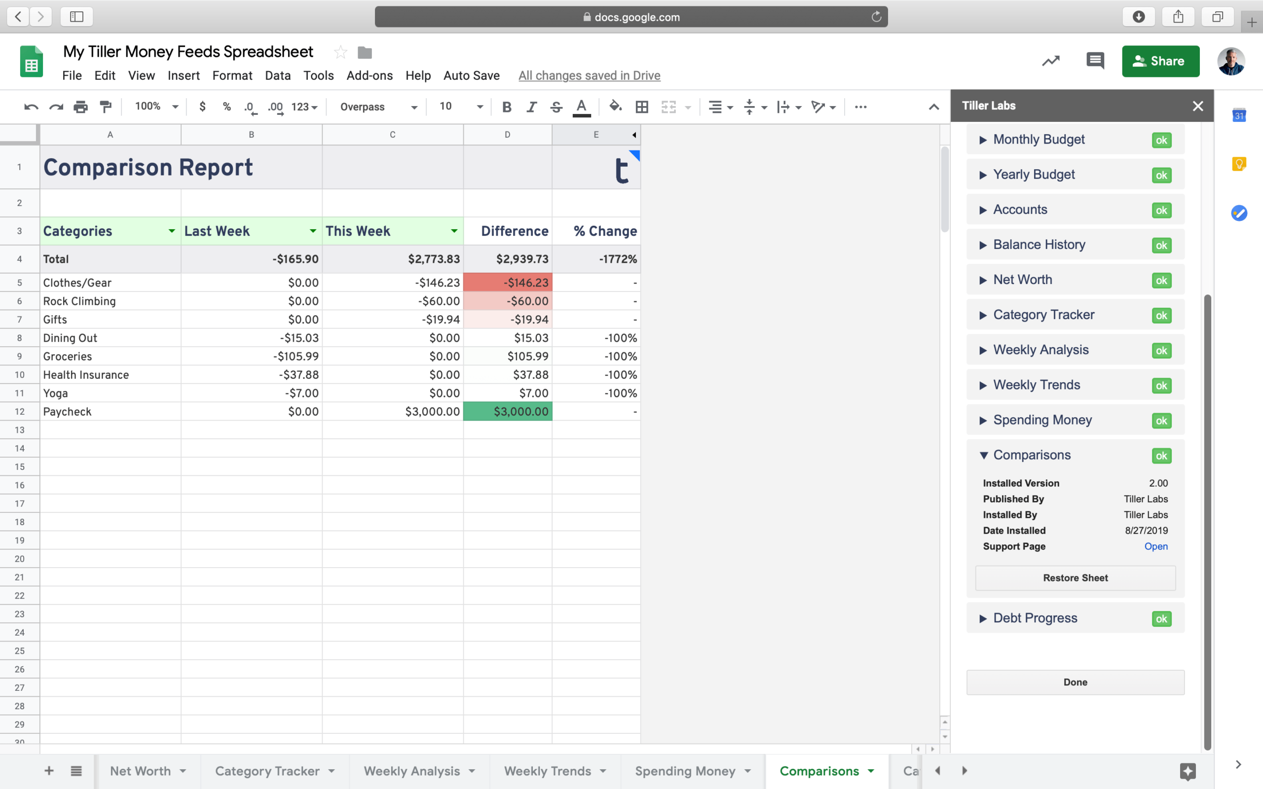 Compare your annual cash flow, top expenses, and category totals to a previous year with this free report for Google Sheets powered by Tiller Money Feeds.