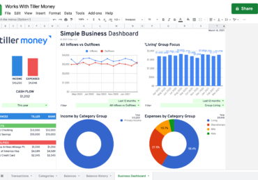 business dashboard works with tiller money