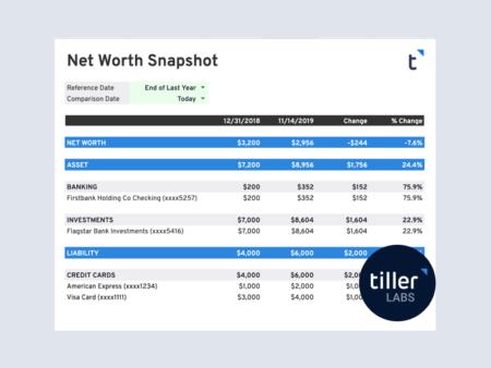 Net Worth Snapshot Google Sheets