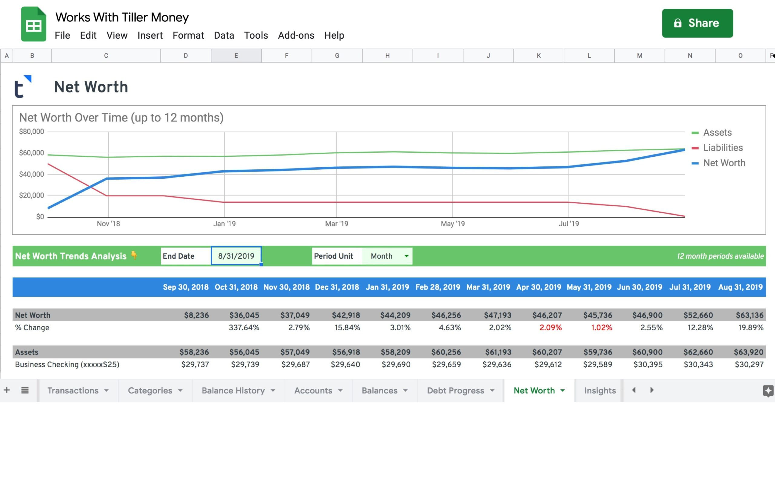 net worth tracker spreadsheet works with tiller money