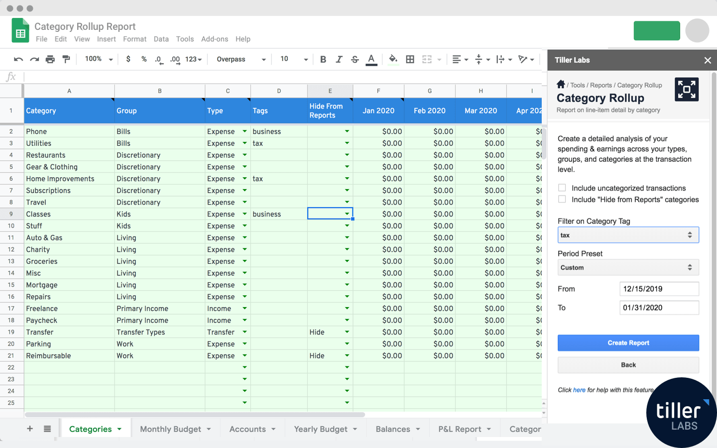 Category Rollup Report for Google Sheets