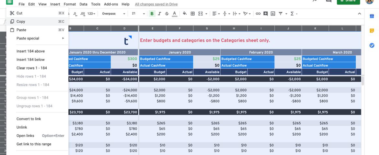 Cash Flow Planning Google Sheets
