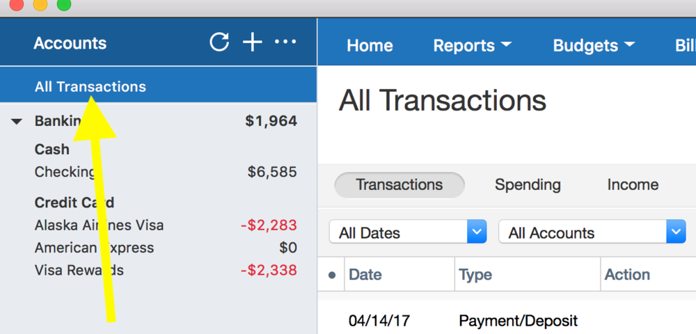 Quicken Export Transactions