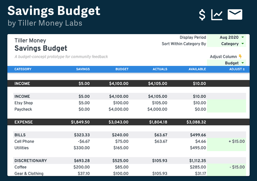 Savings Budget By Tiller Money Labs