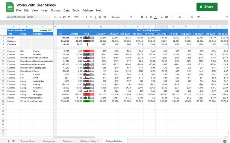 budget builder for google sheets works with tiller money