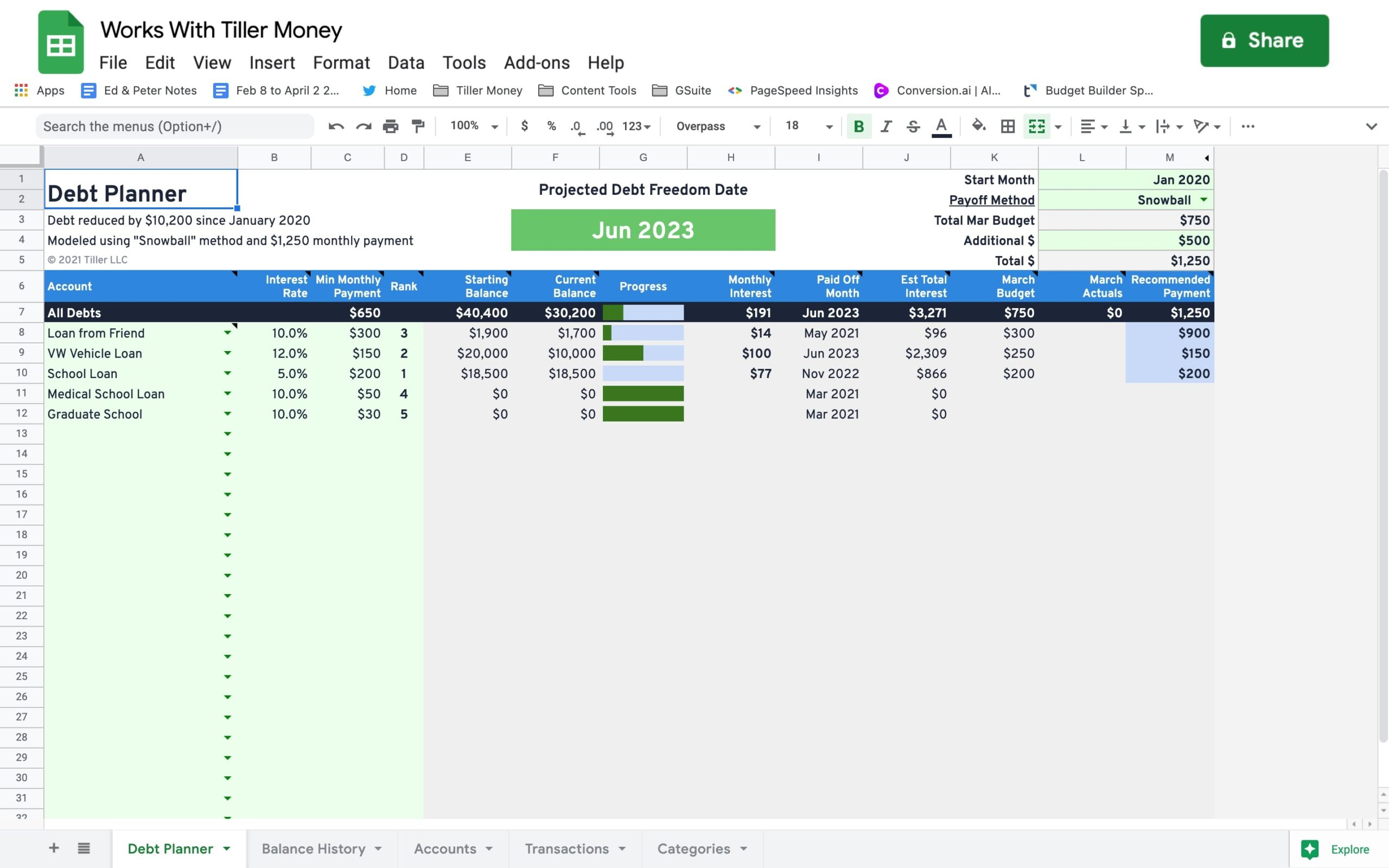 debt payoff template for google sheets works with tiller money