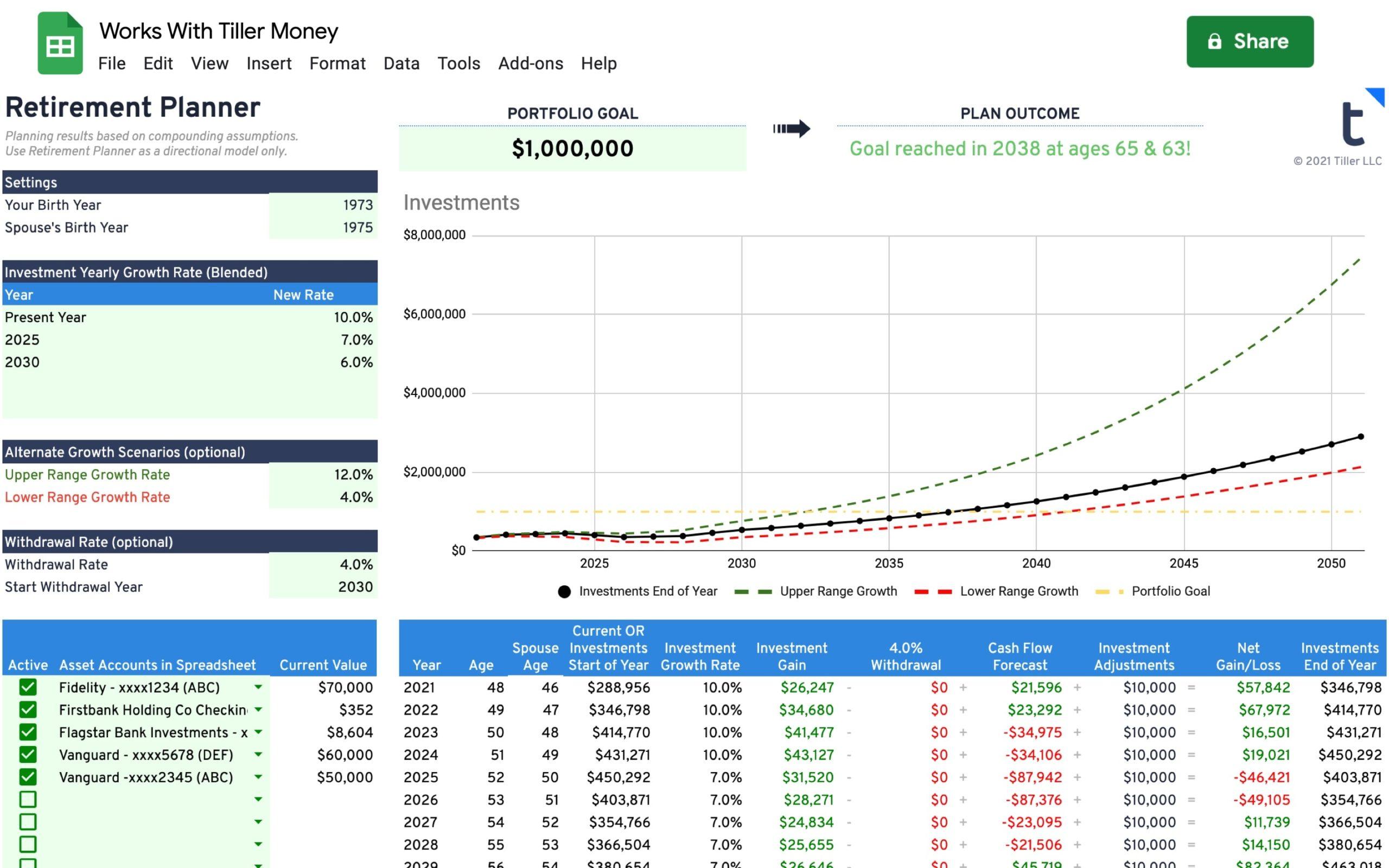 retirement planner for google sheets works with tiller money