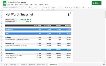 net worth snapshot works with tiller money