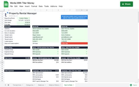 rental property spreadsheet works with tiller money