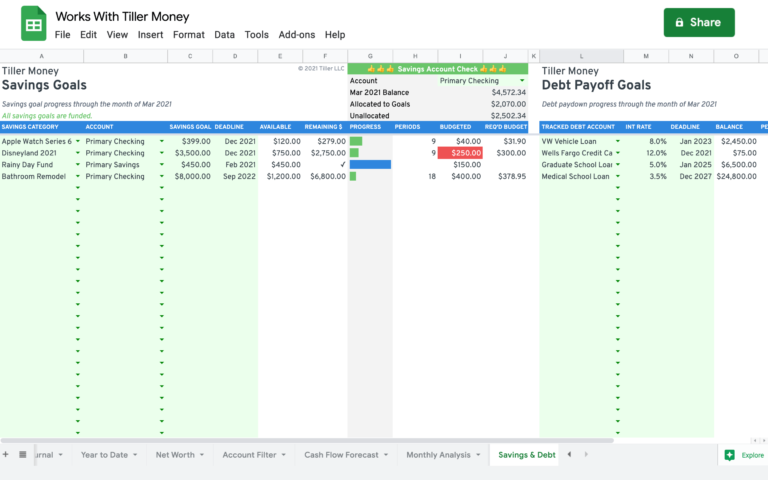 savings and debt goals spreadsheet works with tiller money