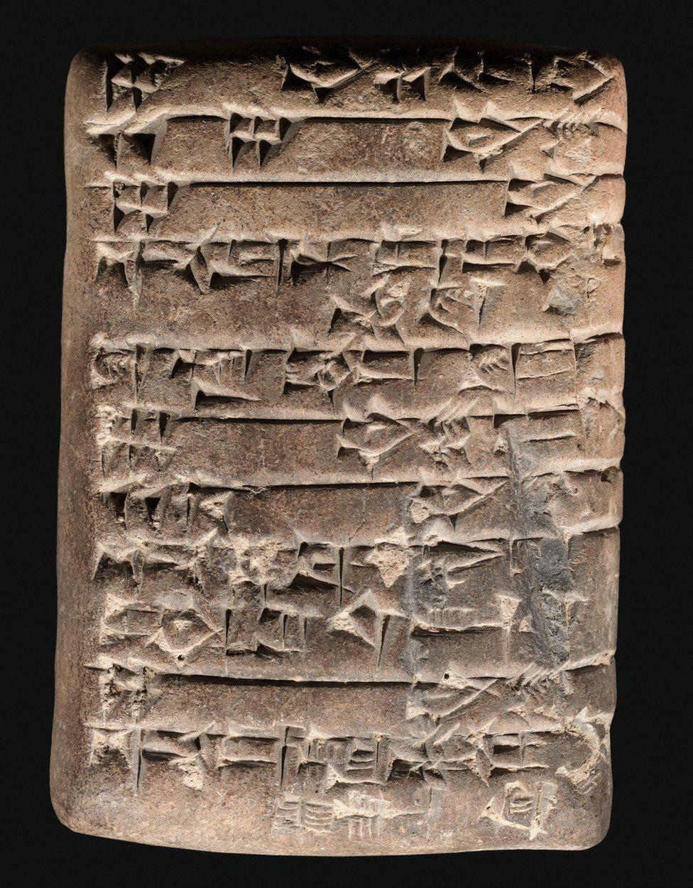 This tablet has an account in Sumerian cuneiform describing the receipt of oxen