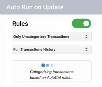 Automatic transaction categorization 100% based on your rules