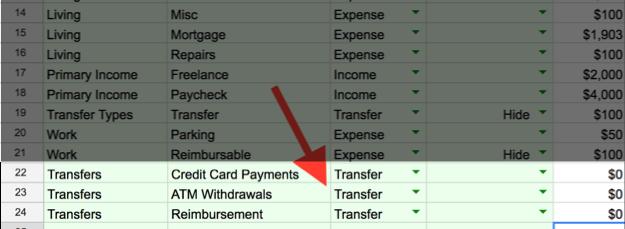 transfer detail in tiller categories sheet