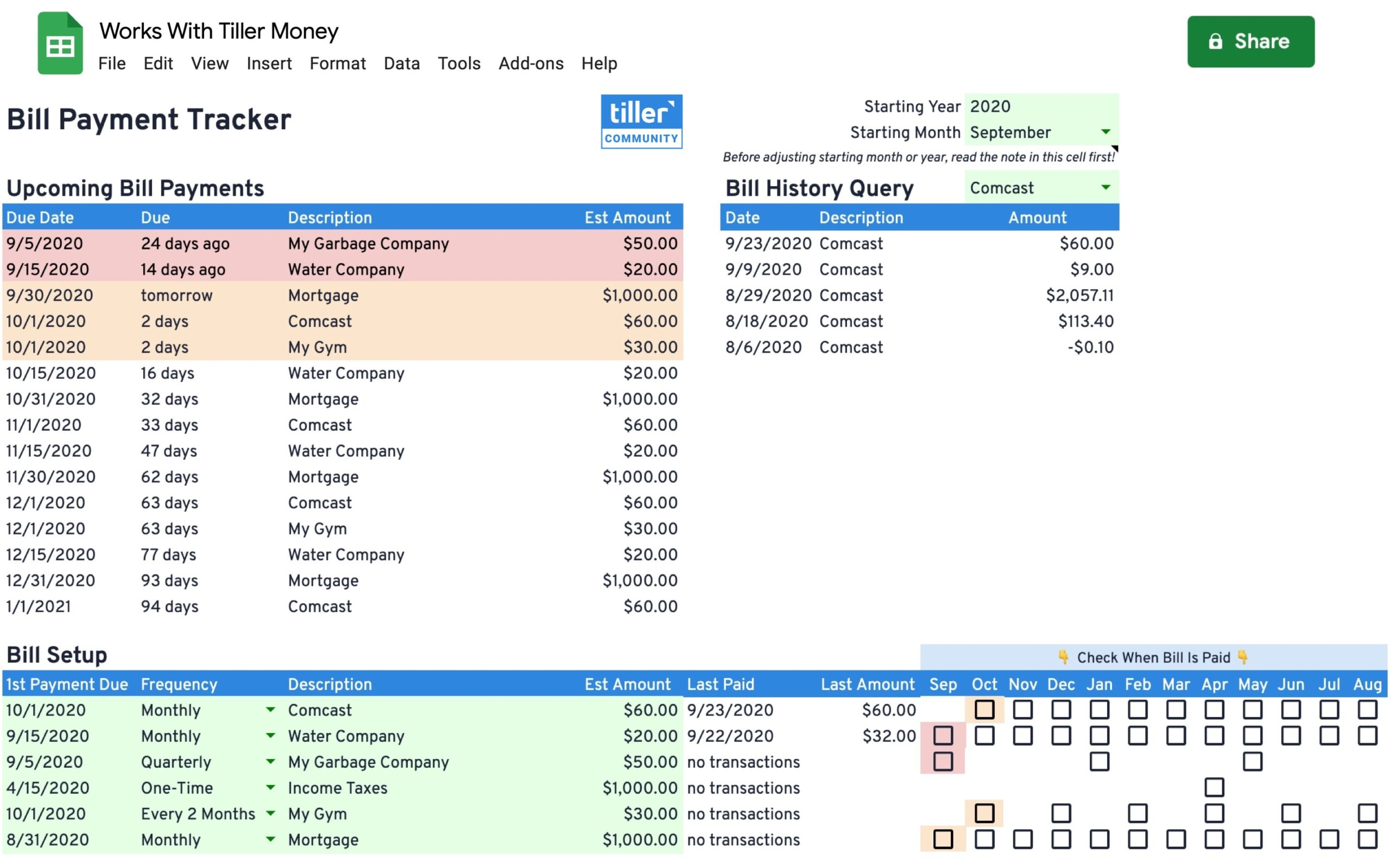 bill tracker spreadsheet works with tiller money