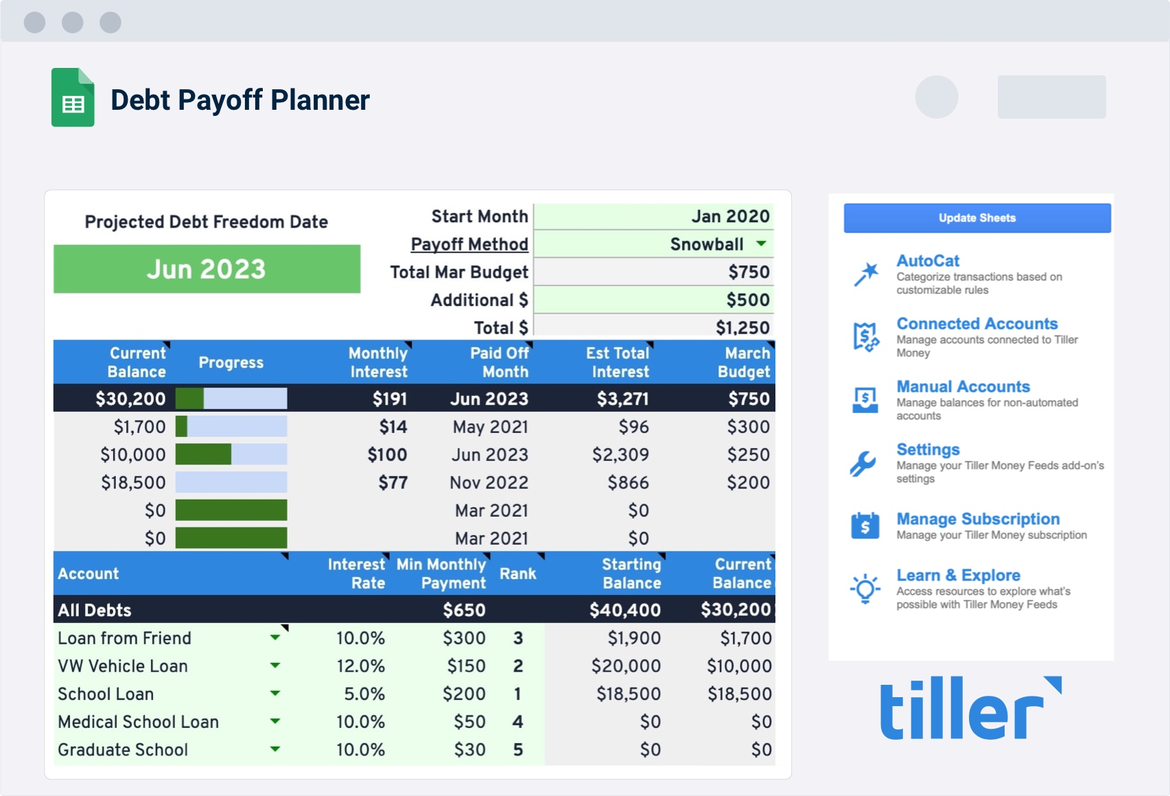 debt snowball payoff planner spreadsheet