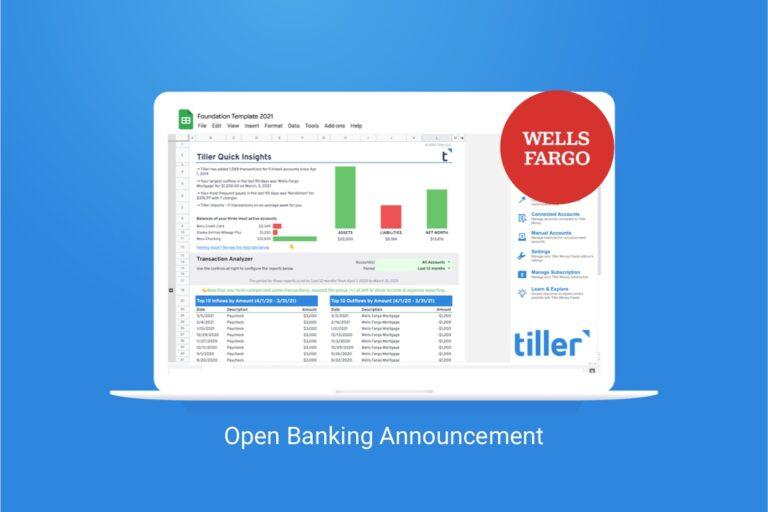 wells fargo and tiller open banking