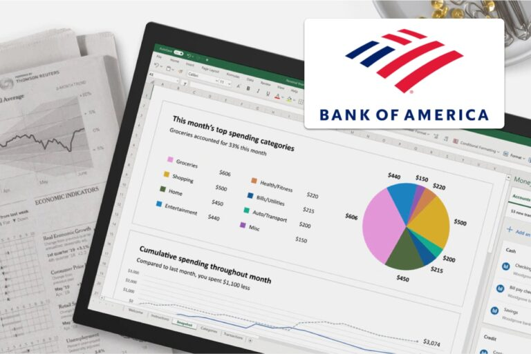 bank of american statements in spreadsheet
