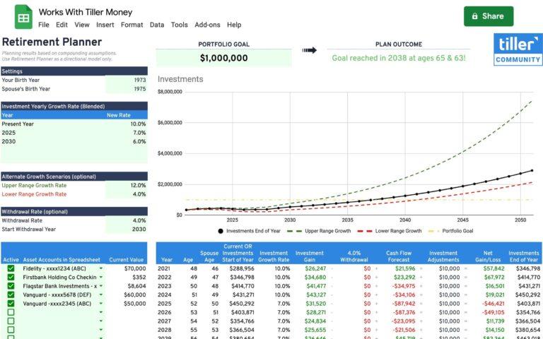 retirement planner works with tiller money