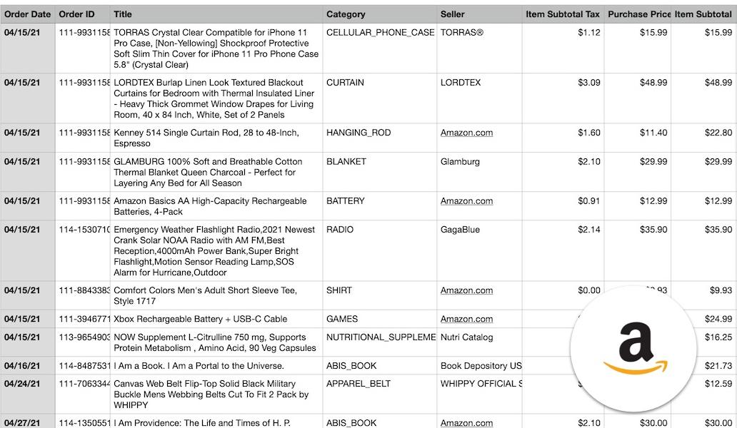amazon order history report csv