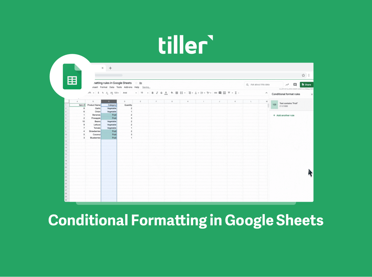 conditional formatting in google sheets