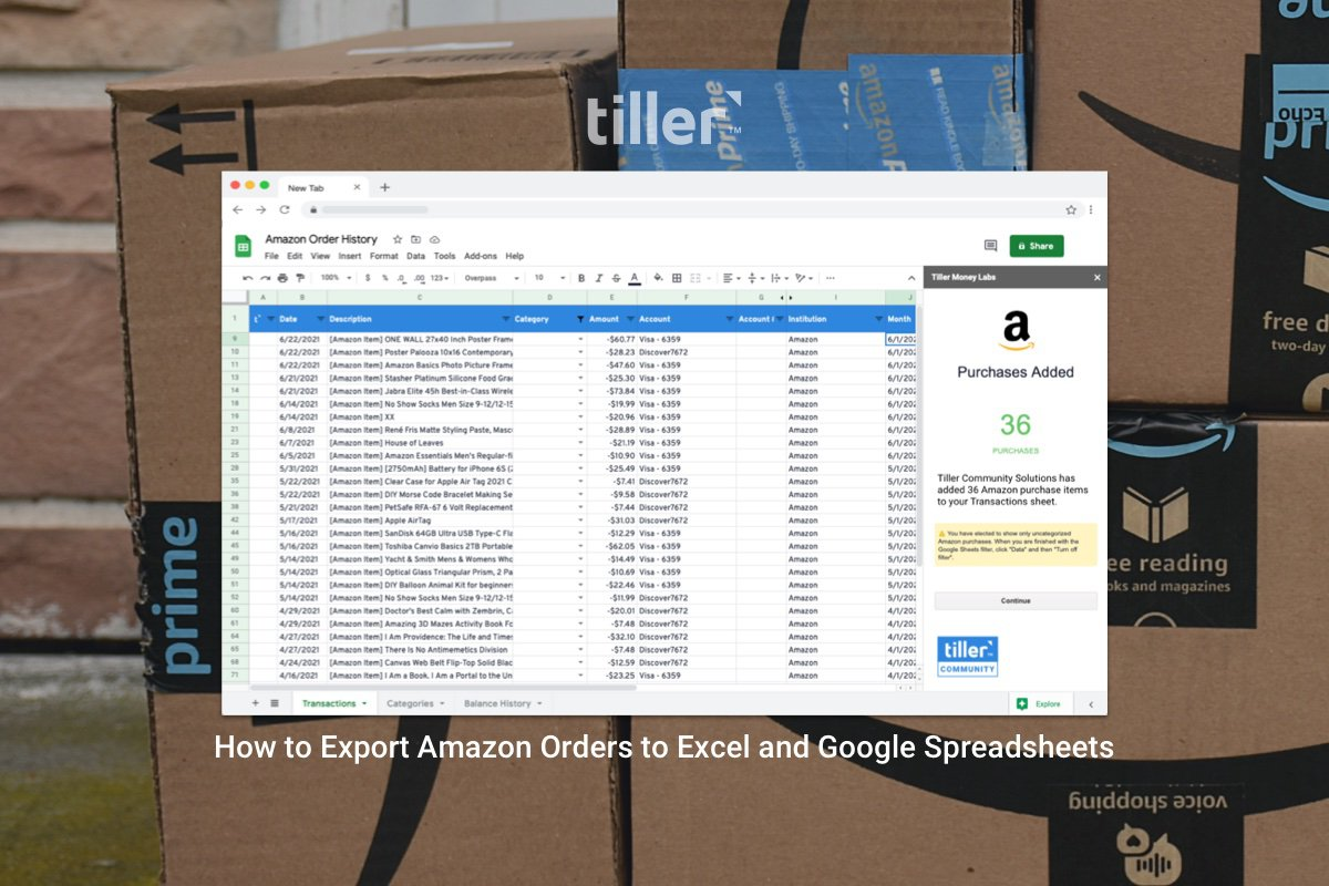 How to Export Amazon Orders to Excel and Google Spreadsheets
