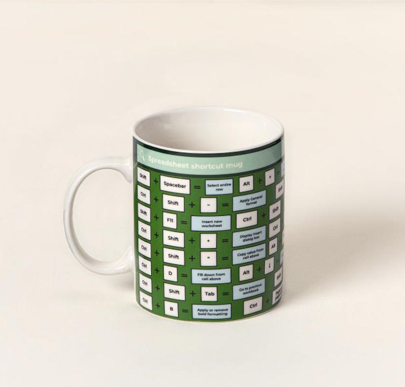 spreadsheet shortcuts mug