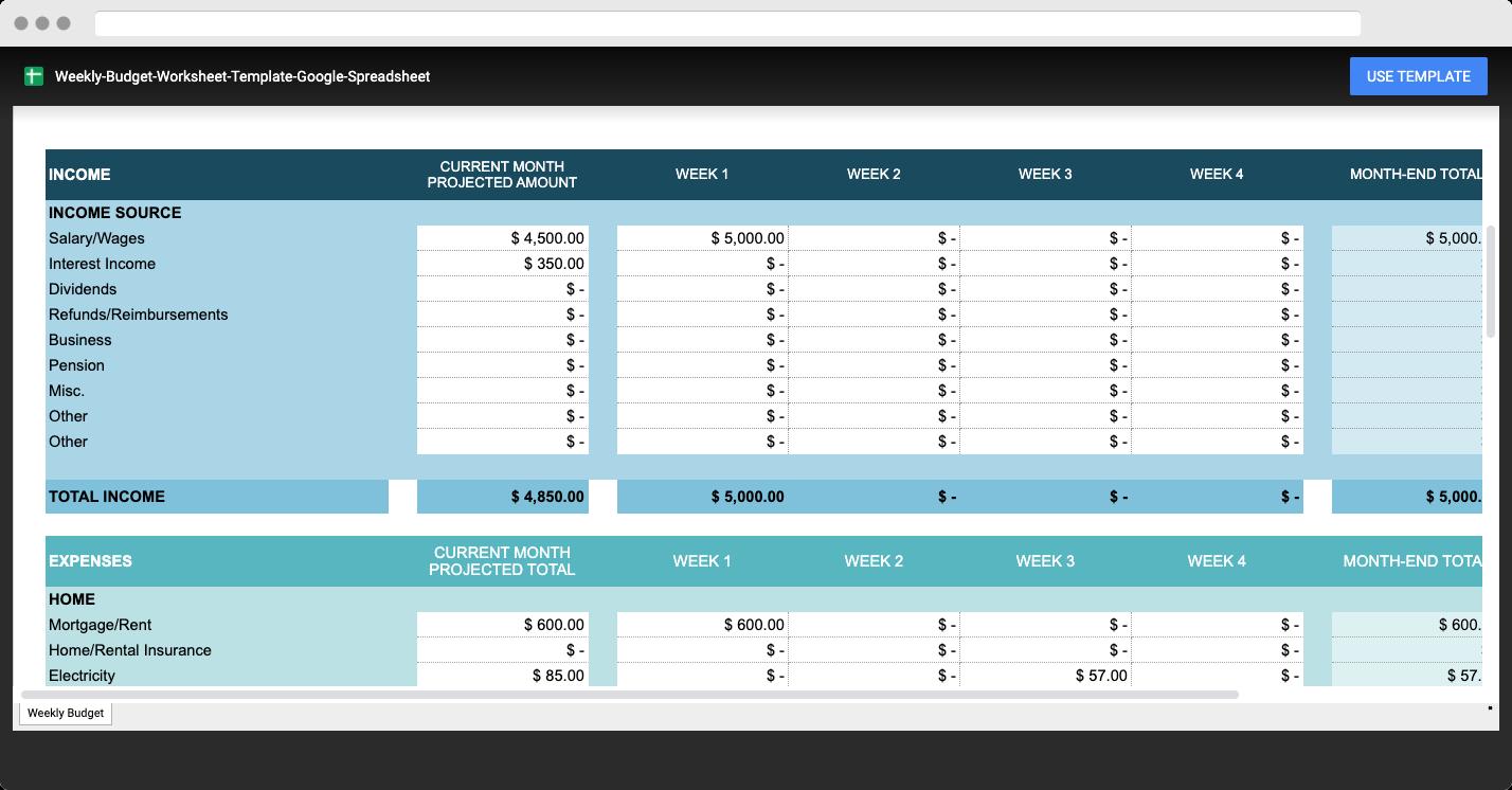 weekly budget worksheet template google spreadsheet